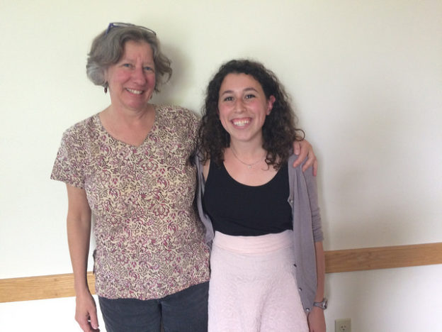 Kim with Nina at her Hampshire College division three project presentation