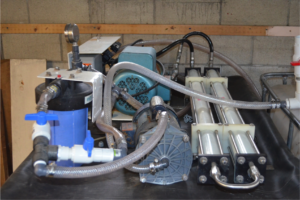 Reverse Osmosis equipment designed to desalinate water is now reducing urine to a concentrated fertilizer product at Rich Earth Institute.
